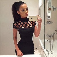 2016 New Womens Dress Sexy Bandage Bodycon Dress Slim Skinny Party Caged Mesh Short Sleeve  Dress Polyester