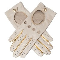 Ladies Leather Driving Gloves - Cream & Gold Nappa Leather Gloves - Black.co.uk