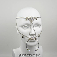 Headpiece Facepiece Mouthpiece Nose Ring Filigree with Swarovski and Pearls Embellishments Silver Chain