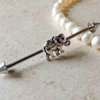 Industrial Barbell With Tiny Elephant Body Jewelry Ear Jewelry Double Piercing