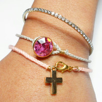 light pink peach salmon braided friendship bracelets - gold plated cross charm pink floss dainty delicate pastel spring 2013