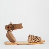 H By Hudson Soller Ankle Strap Leather Flat Sandals