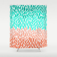 Shower Curtain Teal Coral Mint Green Leaf Design  Pattern Home Bath Room Unique Decor