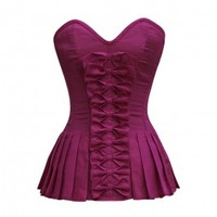 ND-045 - Purple Sweetheart Bow Front Corset with Pleated Sides