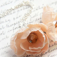 Romantic Dream Fabric Flower Necklace - Peach Pink - Silver Chain - Shabby Chic - Pastel Fall Gift - TAGT TEAM