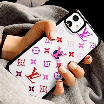 LV Louis Vuitton Mobile phone case high-end luxury printed iphone 11 pro max transparent xs presbyopia jelly phone case Colorful