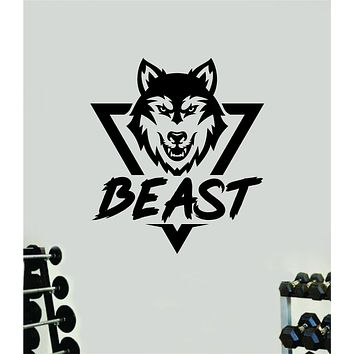 Beast Wolf Wall Decal Home Decor Art Vinyl Sticker Quote Bedroom Teen Inspirational Gym Fitness Lift Animal