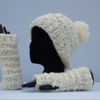Hand Knitted Lady's Hat, Knitted Winter Hat, Ladies Winter Hat, Knitted Arm Warmers, Lady's Arm Warmers