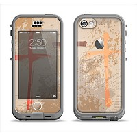 The Tan Splattered Color-Crosses Apple iPhone 5c LifeProof Nuud Case Skin Set