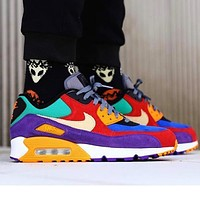 Nike Air Max 90 BETRUE Rainbow Series Color block Contrast Yellow purple red blue green
