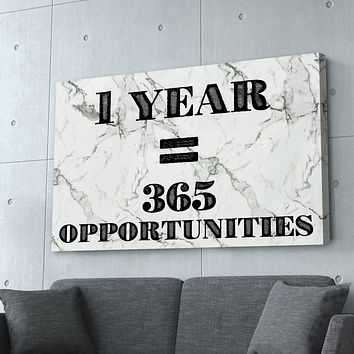 """""""One Year = 365 Opportunities"""" White Marble Entrepreneur Print"""