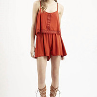 High Rise Spaghetti Strap Shorts Star Lace Jumpsuit [4918733892]