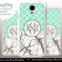 Monogram Galaxy S4 case S5 Real Tree Camo White Mint Quatrefoil Personalized RealTree Samsung Galaxy S3 Case Note 2 3 Cover Country Girl