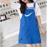 NIKE Fashion new summer embroidery hook hole strap dress strap dress Blue