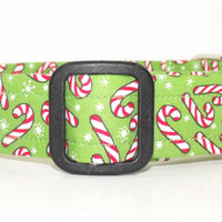 Christmas Dog Collar Green with Candy Canes and Snowflakes