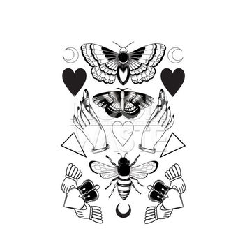 butterfly moth bee temporary tattoo sticker / stickers / grunge / fashion / lipsticks / heart / tat / ink art / design / moon / rockabilly
