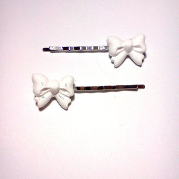 White Bow Bobby Pins Cabochon Hair Pins Party Bachelorette Accessories