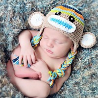 Crochet Boys Stripe Sock Monkey Hat.. on Luulla