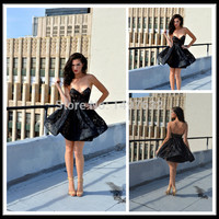 2017 free shipping Vestido Curto Festa Chic Short Black Cocktail Dress Sweetheart Sleeveless A Line Lace Womens Party Dresses