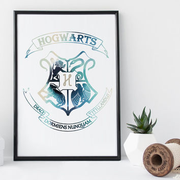 Hogwarts Harry Potter art print, hogwarts crest, gryffindor, watercolor print, ravenclaw print, home wall decor, nursery decor, poster, gift
