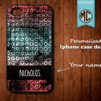 Personalized iPhone Case - Plastic or Silicone Rubber Monogram iPhone 4 4S Case Cover - K015