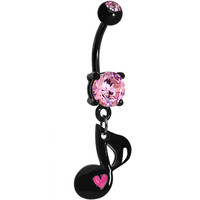 Pink Gem Black Love of Music Dangle Belly Ring | Body Candy Body Jewelry