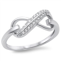 Sterling Silver Pave Set Round Cut CZ Infinity Ring size 4-10