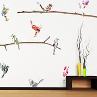 Watercolor Birds & Branches Wall Decals