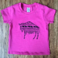 Kids Native Buffalo Short Sleeve T-shirt-Pink