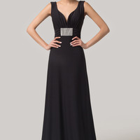 Black Deep V-Neck Ruched Crytal Panelled Sleeveless Maxi Dress