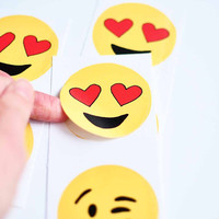 """Valentines day stickers tags 2"""" circle - heart eyes emoji yellow red kiss face love lover eye circle includes 6 stickers"""