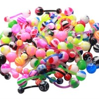 BodyJ4You Belly Button Rings Assorted Lot of 20 Pieces Flexible Bars Piercing Jewelry
