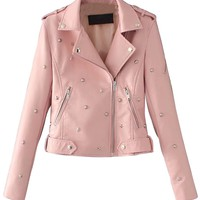 Pink Stud Detail Leather Look Biker Jacket