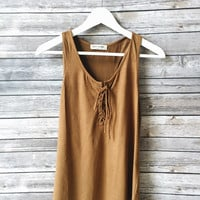 Avah Lace Up Tank (Camel)