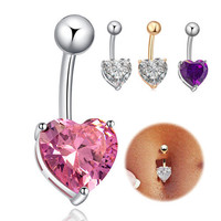 Fashion Love Heart belly button rings Bar Gold / Silver Plated Surgical Piercing Sexy Body Jewelry for women CZ navel piercing