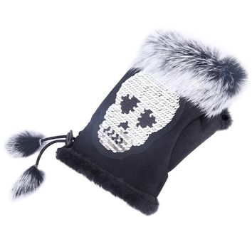 Skull Skulls Halloween Fall New Fashion 2018 Winter Gloves Without Fingers Gloves Fur Mittens For Women Warm Gloves For Ladies Magic  Silivery Sequin Calavera