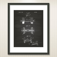 Dumbbell 1928 Patent Art Illustration - Drawing - Printable INSTANT DOWNLOAD - Get 5 colors background