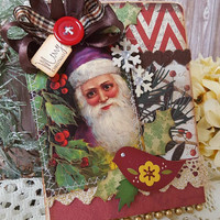 Shabby Chic Christmas card, Santa Card, Merry Christmas, Season's Greeting Card, Festive Card, Vintage