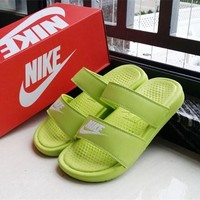 Nike Wmns Benassi Fluorescent Green Sandals Slipper Shoes