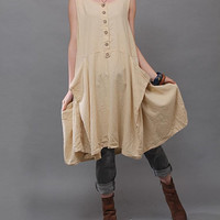 Linen sleeveless casual dress / Summer long  dress