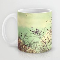 Art Coffee Cup Mug Birds of a Feather photography home decor Java Lovers Mint Green sky Vintage Style photo earth tones brown tree branches