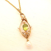 Art Nouveau Pendant Necklace, Elegant and Sweet Peridot and Seed Pearls with Leaf Design, 15K Gold, 14K Gold Chain