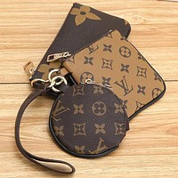 Louis Vuitton LV Key Bag Coin purse Small Wallet Monogram Three Piece Suit Brown&Coffee