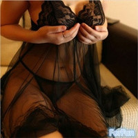 New Fashion Sexy Women's Lingerie Dress Lace Underwear Spagetti Strap Babydoll Sleepwear [7687849286]