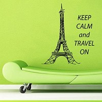 Wall Decals Vinyl Decal Sticker Home Interior Design Art Mural Quote Keep Calm and Travel on Eiffel Tower Paris Kids Baby Room Decor