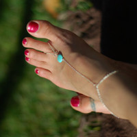 Barefoot Sandal - sterling Silver Chain,  Turquoise jewelry, Beach Wedding, Pool Party, Belly Dancing or Cruise Wear
