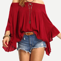 Trumpet Sleeves Strapless Loose Shirt B0013758