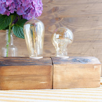 Set of two wood lamps, made out of reclaimed wood