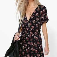 Violette Floral Tie Waist Wrap Tea Dress | Boohoo