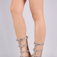 Jeweled Glitter Strappy Gladiator Flat Sandal